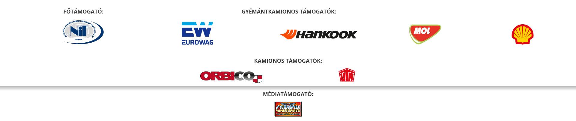Főszervező: NiT Hungary; Gyémántkamionos támogatók: Eurowag; Médiatámogatók: Camion Truck & Bus Magazin